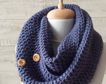 Chunky scarf, circle scarf, knit scarf, chunky knit scarf, blue scarf,  mens scarf, chunky scarf, blue knit scarf