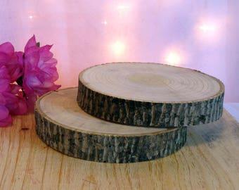"12 Poplar Wood Log Slices 5"" to 7"" Crafts Rustic Wedding Cabin Décor Disk"