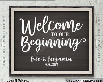 "Welcome to our Beginning Sign, Wedding Welcome Entrance Display, Welcome to our Wedding Poster, 8x10/16x20"" Chalkboard Style Printable Sign"