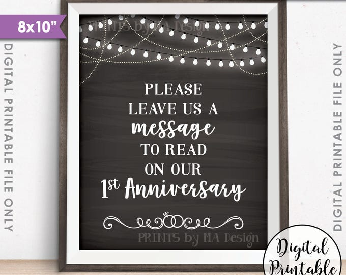 """Please Leave Us a Message to Read on Our First Anniversary Wedding Sign, 1st Anniversary, 8x10"""" Chalkboard Style Printable Instant Download"""