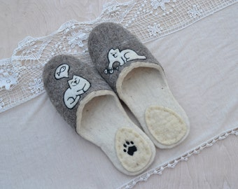 "Eco friendly handmade felted slippers. Slippers for home "" Cat's dreams"""