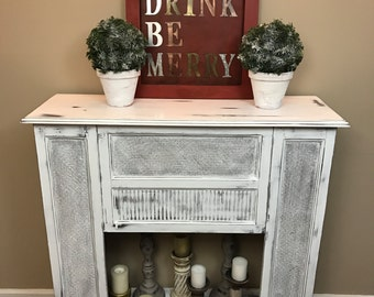 Cottage Shabby Chic Fireplace Mantle - White Distressed