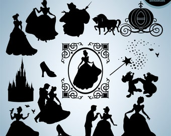50% Off Sale - Disney princess, svg, Princess clipart, silhouette, set of Cinderellas clipart, eps, png, INSTANT DOWNLOAD