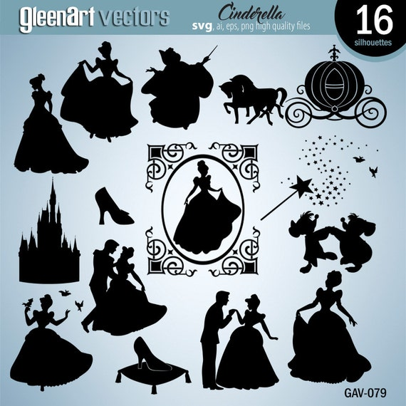 cinderella silhouettes disney princess cinderella svg cut file princess silhouette set of cinderellas clipart eps png instant download from gleenart
