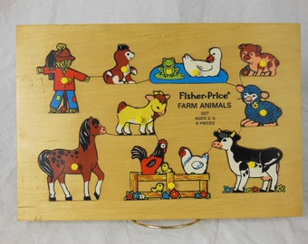 Fisher Price Farm Animals See Through, Jigsaw Puzzle - Wood Pieces