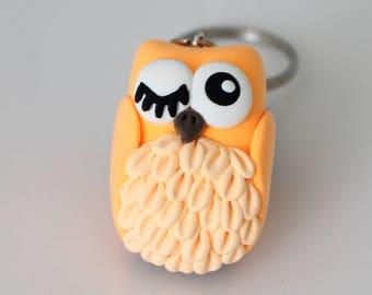 Neon orange Owl keychain