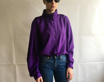 Vintage Violet Mock Neck Button Up Blouse