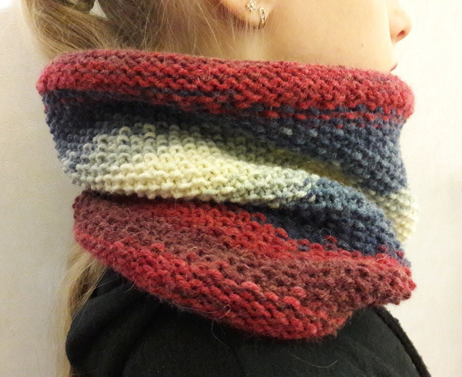 Knitting Cowl Scarf : Hand knit scarf girl cowl knitting childrens gift neck