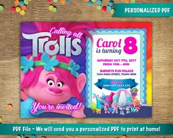 Personalized Trolls Birthday Party Invitation  | Poppy  | DIGITAL DOWNLOAD - PDF File