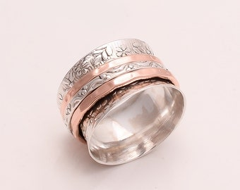 925 Solid Sterling Silver Copper-Brass Spinner Ring