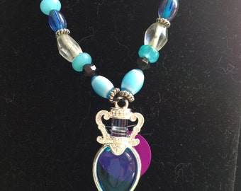 Magic Cobalt Blue Glass Bottle Pendant with Beads and Purple Energy Disk Necklace