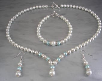 Ivory & Aqua Pearl Set, Pearl Diamante Wedding Jewelry, Pearl Necklace Bracelet Earrings Set, Heart Shaped Toggle Clasps 2DRNBE
