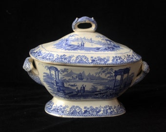 Antique Early Victorian Wood & BrownfieldCovered Blue and White Sauce Tureen in the Venetian pattern 7.25 inches