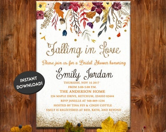 Fall Bridal Shower Invitation   Floral Watercolor Card   Flowers, Autumn, Printable   INSTANT DOWNLOAD DIY   Gold Glitter Leaves Card Invite