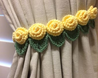 Crochet curtain Tieback- 1 pair yellow rose flower