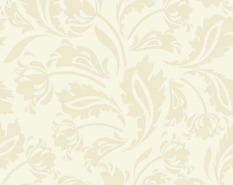 Sale! - Riley Blake Floribella Cream Floral Damask / Ivory Floral Tulips Leaves Tonal Fabric