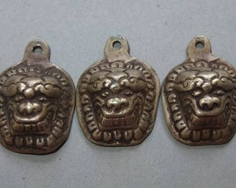 THREE Brass Lion Amulets Pendants, Buddhist Folk Jewelry, Ethnic Art, FREE SHIPPING
