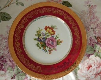 Limoges Flowers Red and gold Cabinet Plate