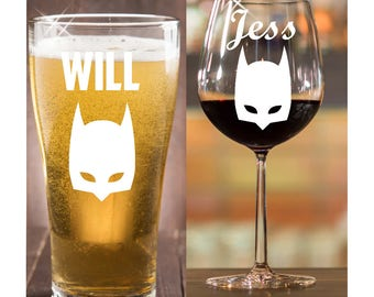 Batman Fans gift/ Batman/ personalized glasses/ personalized gift/ stemless wine glass/ Engagement gift/ Personalized Wine Glasses/ Funny