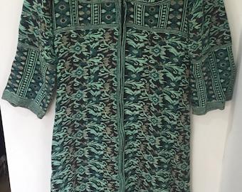Vintage 70s Green tapestry woven Hippy dress uk12