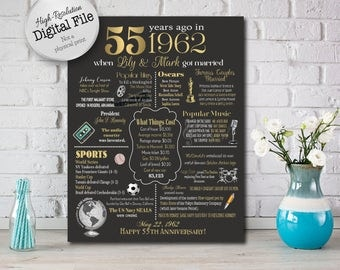 Personalized 55th Anniversary Chalkboard Poster, 1962 Events & Fun Facts, 55th Anniversary Gift, 55 Years Ago, Digital File