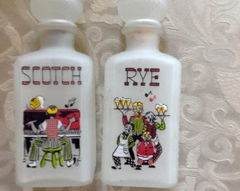 Gay Fad Frosted Glass Scotch and Rye Decanters 1950s