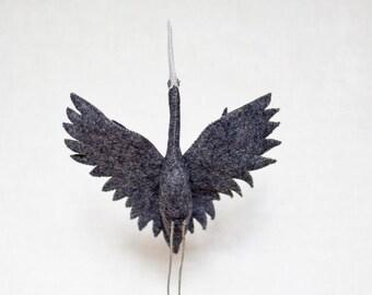 Blue Heron sculpture, felt bird, soft sculpture, modern bird design