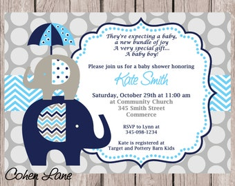 Printed 5x7 Elephant Baby Shower Invitations and Envelopes. Baby Boy Shower Invitation.  Printed Invites and Envelopes. Navy Blue Elephant.