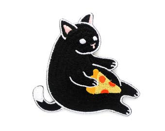 Black Pizza Cat Patch (cute cat patch embroidered pizza patch embroidery flair kitten pin black cat pepperoni pizza gift cat lover gift)