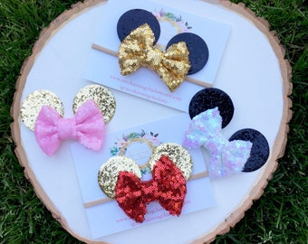 Sequins bow Minnie Mouse ears