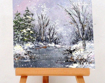 """The beauty of Winter. original 4x4""""  miniature painting, gift item"""