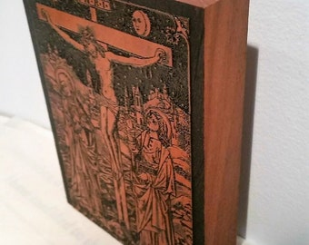 "Crucifixion of Our Lord Mahogany Wood Block (L 6.25"" x H 4.5"" x D 7/8"")"