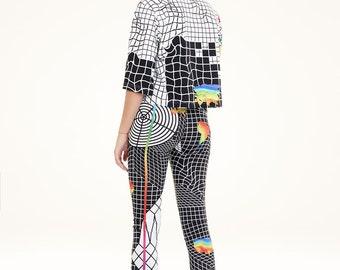 NEW COLLECTION printed women black white leggings organic cotton