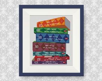 BUY 2, GET 1 FREE! Harry Potter pile of books cross stitch pattern, pdf counted cross stitch, Harry Potter Hogwarts cross stitch, #P266