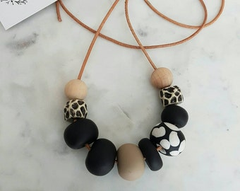 Black white and tan clay bead necklace, polymer clay jewellery, clay necklace, gift for her, birthday gift