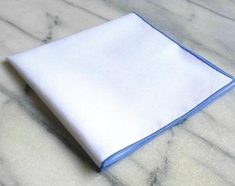 Cotton Mens Pocket Square-Handmade 100% Cotton White Mens Pocket Square with Light Blue Border, Cotton Pocket Square, Suit Pocket Square