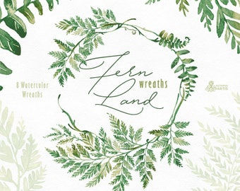FernLand. Wreaths. Watercolor floral clipart, ferns, leaves, wild, wedding invitation, suite, greeting, green, planner, forest, minimalistic