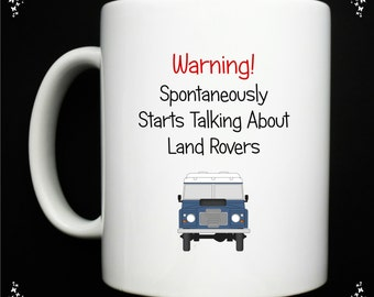 Personalised - Warning Land Rover Mug - Blue - Green - 4x4  FREE POSTAGE