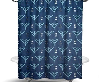 "Shower Curtain/ Blue Abstract Fabric Shower Curtain / Bath Curtain/ Standard Length (71""x74"") MADE TO ORDER"