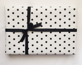 Black & White Mini Polka Dot Wrapping Paper - 100cm x 50cm
