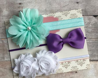 Set of 3 Baby Girl Headbands, Newborn Headband, Shabby Chic Headbands, Baby Shower Gift, Aqua Headband, Purple Headband, Baby Headband set