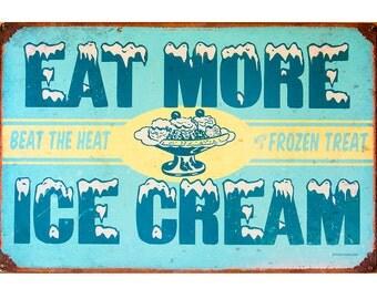 Kitchen Decor, Old Ice Cream Sign, Kitchen Art Print, Retro,Vintage Sign,Americana,Large Wall Art,Blue Yellow White Rustic Decor, Home Decor