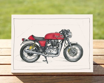 """Red Cafe Racer Motorcycle Gift Card 