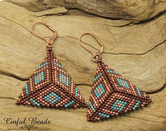 PEYOTE TRIANGLE EARRINGS-Copper and Turquoise Dangle Earrings-Peyote Stitched Dangle Earrings-Miyuki Delicas-Southwest Earrings-