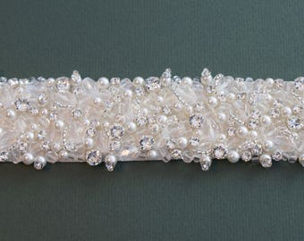 Pearl, Crystal And Diamanté Bridal Belt Or Sash - Made To Measure - RUBY