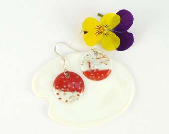 Porcelain Earrings,Red Decor,Porcelain Jewelry,Ceramic Jewelry,Boucles d'oreille en Porcelaine,Dangle Earrings