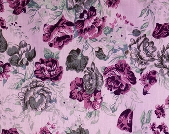 Purple Roses Grey Roses on Printed Rayon-Light Purple Ground-Vintage Roses for Vintage style garment-Craft supply-Hand Printed Rayon-2Y80cm