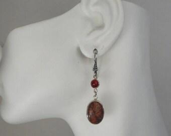 Leopard Jasper and Carnelian Earrings set in Sterling Silver, Made in Montana Fine Jewelry, Brecciated Jasper, Jaguar Stone, Gift for Women