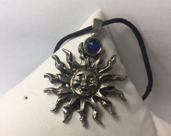 ONE Boho Pewter Sun Pendant with a Unique Stone