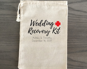 10 Wedding Favors, Hangover Kit, Survival Kit Favor Bags, Gift Bags, Thank you Bags Custom - Wedding Recovery Kit Script